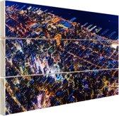 Manhattan vanaf boven bij nacht Hout 160x120 cm - Foto print op Hout (Wanddecoratie) XXL / Groot formaat!