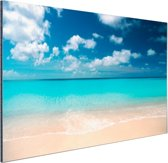 Tropische zee en strand Aluminium 90x60 cm - Foto print op Aluminium (metaal wanddecoratie) / Zee en Strand