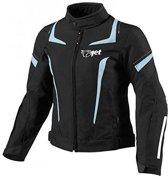JET - Motorjas Dames Textiel Motor Motorfiets jas waterdicht (L (12/14), Zwart / Sky Blue)