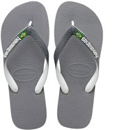 Havaianas Brasil Mix Slippers Unisex - Steel Grey/White/White - Maat 43/44