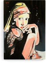 'CONVERSE GIRL' Canvas Print van JM ART (60 x 90 cm)