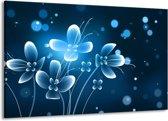 Schilderij   Canvas Schilderij Bloemen, Modern   Blauw, Wit   140x90cm 1Luik   Foto print op Canvas