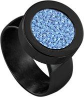 Quiges RVS Schroefsysteem Ring Zwart Glans 17mm met Verwisselbare Zirkonia Blauw 12mm Mini Munt