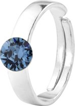 ARLIZI 1410 Ring Swarovski Kristal - Dames - 925 Sterling Zilver - 6 mm - Blauw