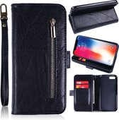H.K. Apple Iphone X MAX zwart rits boekhoesje geschikt voor maar liefst 12 pasjes