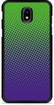 Galaxy J7 2017 Hardcase Hoesje lime paarse cirkels