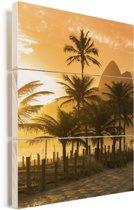 Palmen bij zonsondergang op het Ipanema-strand in Rio De Janeiro Vurenhout met planken 60x90 cm - Foto print op Hout (Wanddecoratie)