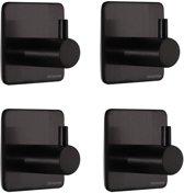 DesignX Handdoekhaakjes Zwart Mat (4-stuks) RVS - Zelfklevend - Handdoek Haakjes - Wandhaak - Ophang haak - Plakhaakjes – Haakje - Keuken  - Handoekhouder - Wandhaakjes - Matte Zwart - Badkamer