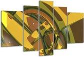 Glasschilderij Abstract | Groen, Bruin, Wit | 170x100cm 5Luik | Foto print op Glas |  F004073