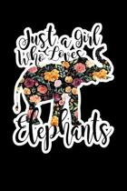 Just A Girl Who Loves Elephants: Composition Lined Notebook Journal Funny Gag Gift