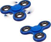relaxdays 2 x Fidget Spinner - tri-spinner 58g hand spinner - anti-stress speelgoed blauw