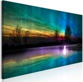Schilderij - Regenboog aurora