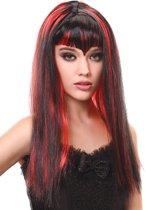 Lange zwart-rode vampier pruik met franje voor dames - Verkleedpruik