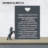 A195 Regels Opa en Oma Donkergijs wit teksbord/wandbord
