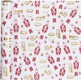 Cadeaupapier, b: 70 cm,  80 gr, wit, goud, rood, notenkraker, 2m