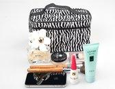 Zebra Make Up Tasje Met Spiegel - Opberg Etui / Cosmetica Organizer Reis Tas Case