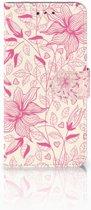 LG G7 Thinq Uniek Boekhoesje Pink Flowers