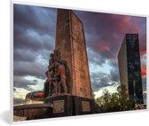 Foto in lijst - Fontein midden in Mexico-stad fotolijst wit 60x40 cm - Poster in lijst (Wanddecoratie woonkamer / slaapkamer)