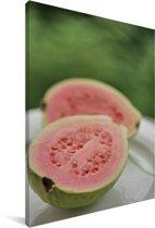 Roze kleur guave op een bord Canvas 120x180 cm - Foto print op Canvas schilderij (Wanddecoratie woonkamer / slaapkamer) XXL / Groot formaat!