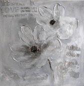 Schilderij bloem tekst 60x60 Artello - Handgeschilderd - Woonkamer schilderij - Slaapkamer schilderij - Canvas - Modern