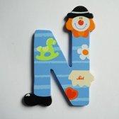 Sevi - Houten Clown letter N - blauw