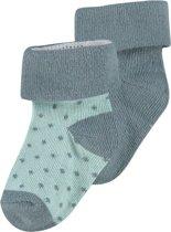 Noppies Unisex U Socks 2pack Dot - Dark Green - Maat 0M-3M