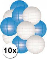 Lampionnen pakket blauw en wit 10x