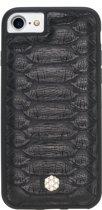 Bomonti - Clevercase Apple iPhone 8 Plus hoesje zwart Tokyo Python Slangenleer - Handmade lederen back cover - Geschikt voor magnetische houders