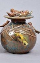 Discus vogelvaas van Daan Kromhout Design 15 x 16 cm blauw/bruin