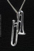 Zilveren Trombone groot ketting hanger