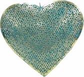 Metalen Decoratiehart turquoise 25cm