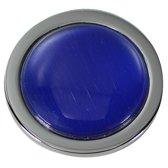 Quiges - Munthouder Munt 25mm Cat's Eye Donkerblauw Zilverkleurig - EPRS049
