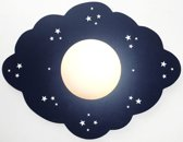 Funnylight kinderlamp wolk donker blauw -sky line met glow in the dark sterretjes