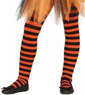 Oranje/zwart gestreepte panty 15 denier voor meisjes