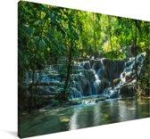 Jungle waterval in Palenque Mexico Canvas 90x60 cm - Foto print op Canvas schilderij (Wanddecoratie woonkamer / slaapkamer)