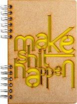 Houten notitieboek - A6 – Blanco – Make Shit Happen