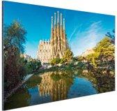 Sagrada Familia en water Aluminium 30x20 cm - Foto print op Aluminium (metaal wanddecoratie)