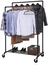 Verrijdbaar Garderoberek – Kledingrek met 2 Rails - Draagcapaciteit tot 110 kg – Zwart