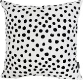 Polka Dots Kussenhoes | Katoen / Flanel | 45 x 45 cm | Zwart - Wit
