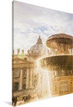 Fontein op het Sint-Pietersplein bij Vaticaanstad in Italië Canvas 20x30 cm - klein - Foto print op Canvas schilderij (Wanddecoratie woonkamer / slaapkamer)