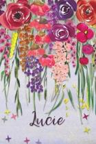 Lucie: Personalized Lined Journal - Colorful Floral Waterfall (Customized Name Gifts)