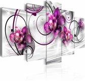 Canvas Schilderij - Orchidee en Parels , paars wit , 5 luik , 2 maten