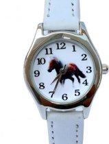 Horloge- Paard- Wit- 26 mm- leer- Gratis batterij