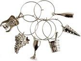 Glasmarker - markeer wijnglazen met bedeltjes - thema Charms - set 6 stuks