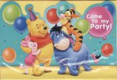 uitnodigingen - winnie the pooh - 6 stuks + envelop