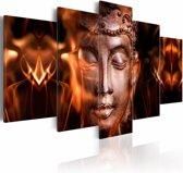 Schilderij - Boeddha - Nirvana, Oranje/Zwart, 5luik
