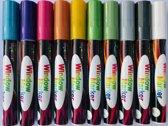 Krijtstiften - raamstiften - krijtmarkers - glasstiften - raamtekenstiften - set van 10 Stiften - INCL GOUD & ZILVER - Metallic