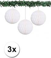 3x decoratie bal wit 10 cm - papieren kerstbal