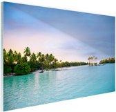 Palmbomen in de tropische oceaan Glas 30x20 cm - Foto print op Glas (Plexiglas wanddecoratie)