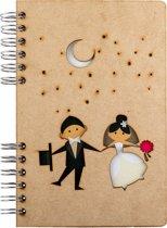 Houten notitieboek – A6 – Gelinieerd – Bruiloft